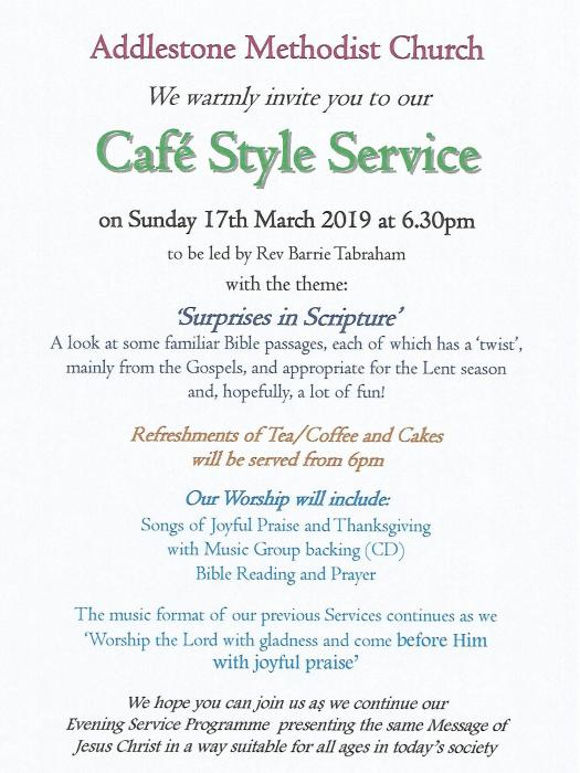 Cafe Style Service - March 19