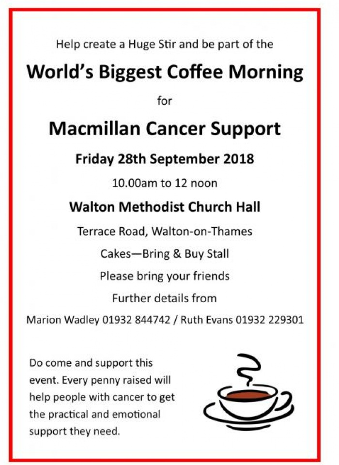Macmillan Coffee Morning - Walton 2018